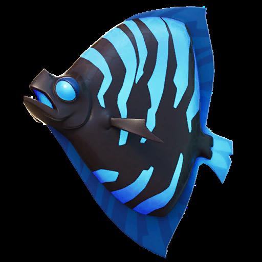 Black and Blue Shield Fish Icon