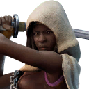 Cloaked Michonne character style